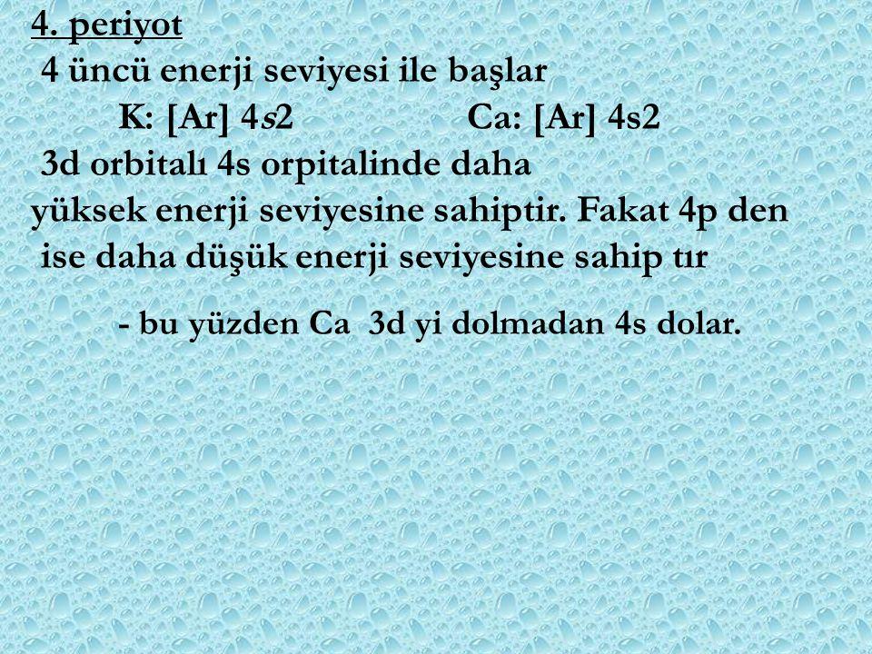 4 üncü enerji seviyesi ile başlar K: [Ar] 4s2 Ca: [Ar] 4s2